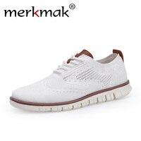 Мужские белые броги на шнуровке Merkmak, легкая классическая обувь в британском стиле, модные воздухопроницаемые трикотажные сетчатые туфли с ...