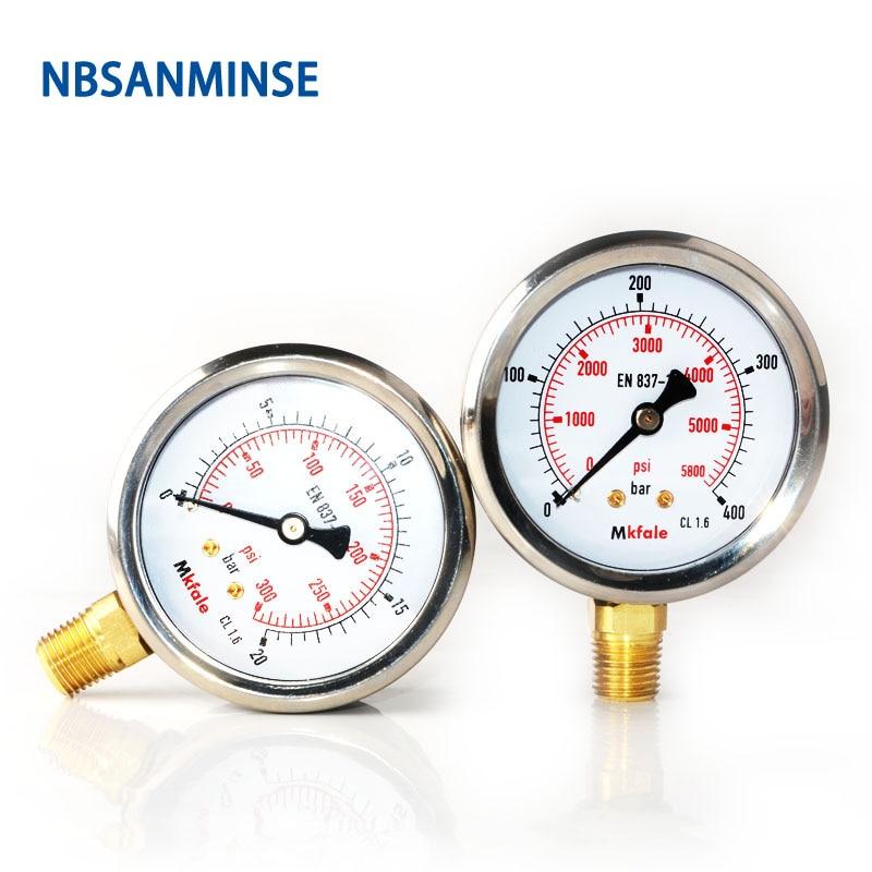 NBSANMINSE Hydraulic Pressure Oil Gauge SM1SP63L 63mm 2.5inch 1/4 NPT Liquid Manometer Instruments Stainless Steel Gauge