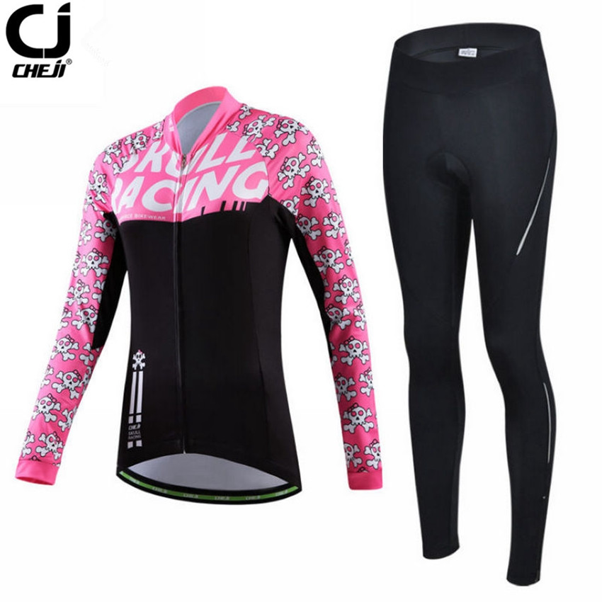 CHEJI Women Mtb Cycling Jersey Sets Bike Team Cycling Clothing Long Sleeve Jersey Bike Outdoor Maillot Clothing cheji women mtb cycling jersey sets bike outdoor sportswear maillot clothing quick dry cycling clothing long sleeve jersey