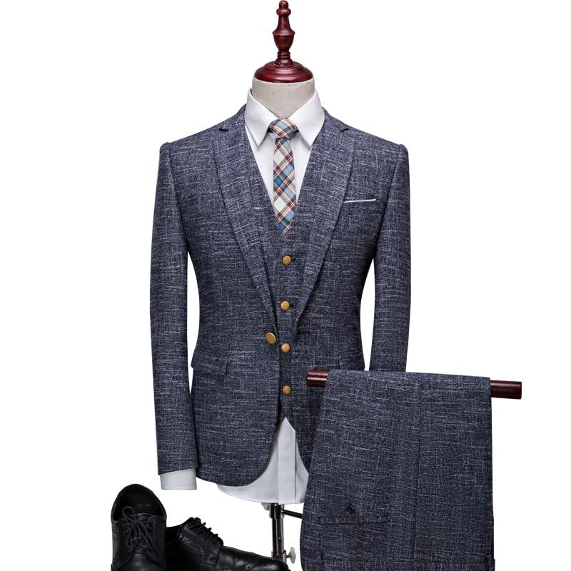 2016 new brand stripend pattern men suits for wedding plus size 3xl casual male suits 3 pcs jacket+pant+vest