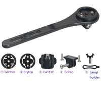Garmin/bryton/cateye/igpsport-Soporte de ordenador de bicicleta de fibra de carbono, soporte para cámara de movimiento GoPro + soporte para lámpara