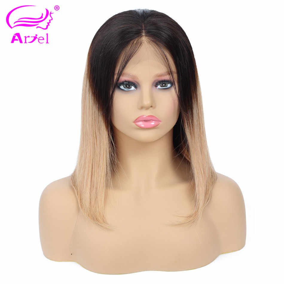 ARIEL 613 Blonde 1b Ombre Short Bob Lace Front Human Hair Wigs Pre Plucked With Baby Hair Peruvian Remy Straight Lace Front Wigs