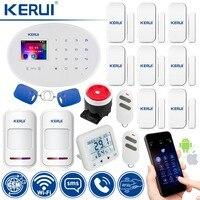 KERUI беспроводная домашняя сигнализация с датчиком температуры и влажности wifi + GSM охранная сигнализация 2 детектор движения 8 дверной датчик