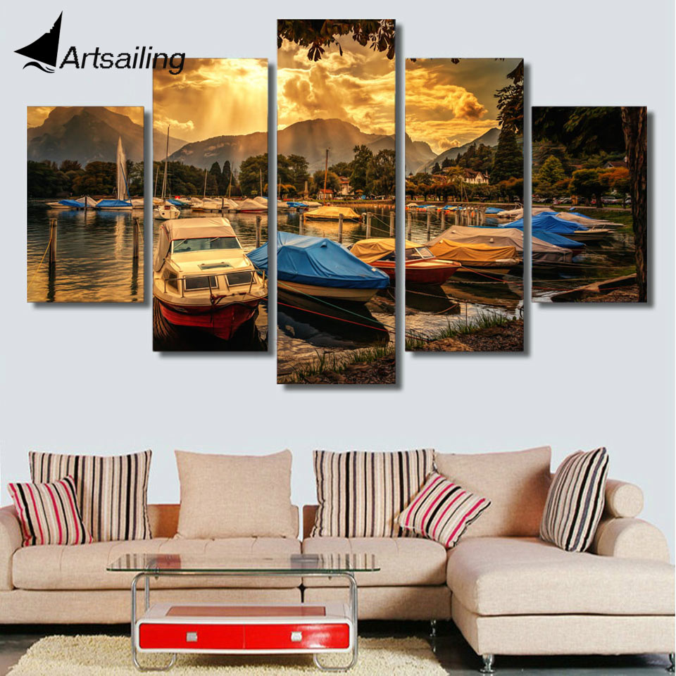 Framed Printed Seaside resort speedboat Painting childrens room decor print poster picture canvas Free shipping/ny-4118