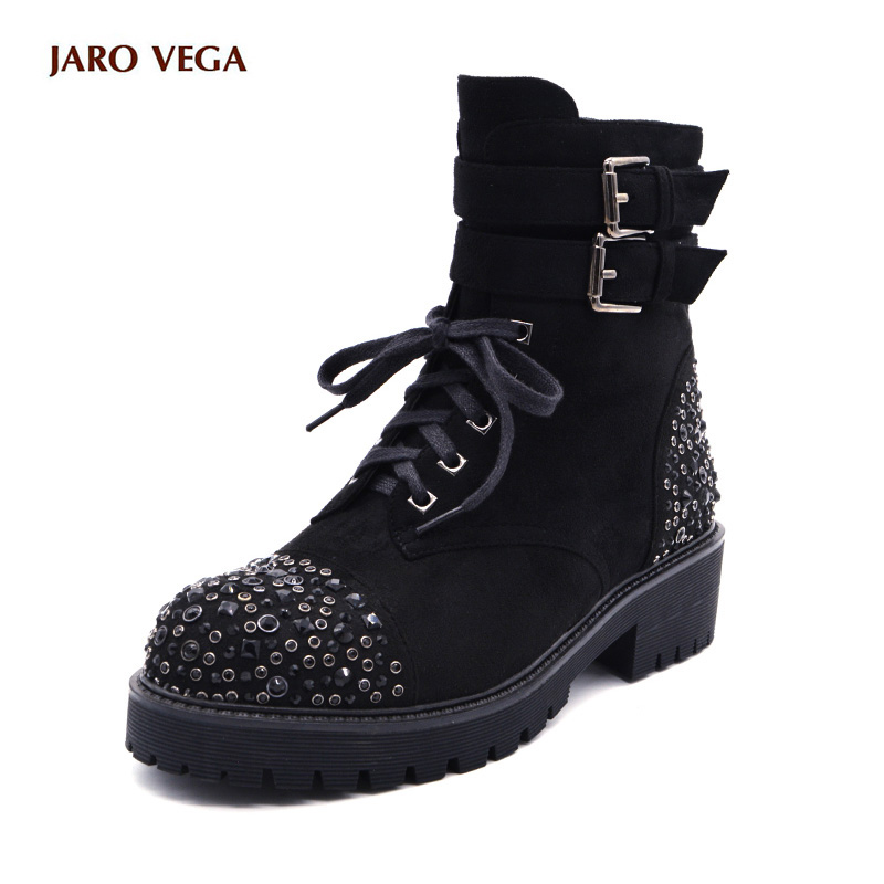 2017 New Hot Winter Womens Round Toe Lace Up Rivet Low Heels Buckle Military Combat Motocycle Riding black Ankle Boots Shoes