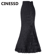 CINESSD Women Mermaid Long Skirt Black Floral Lace Up Girdle Waist Zipper Evening Party Fishtail Casual Layered Lady Maxi Skirts