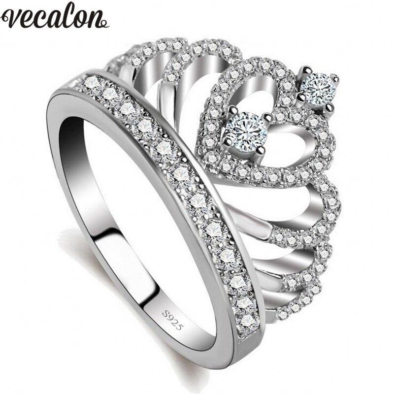 Vecalon 2018 любителей Корона кольцо AAAAA Циркон CZ 925 стерлингового серебра заполнено Обручение обручальное кольцо для мужчин и женщин