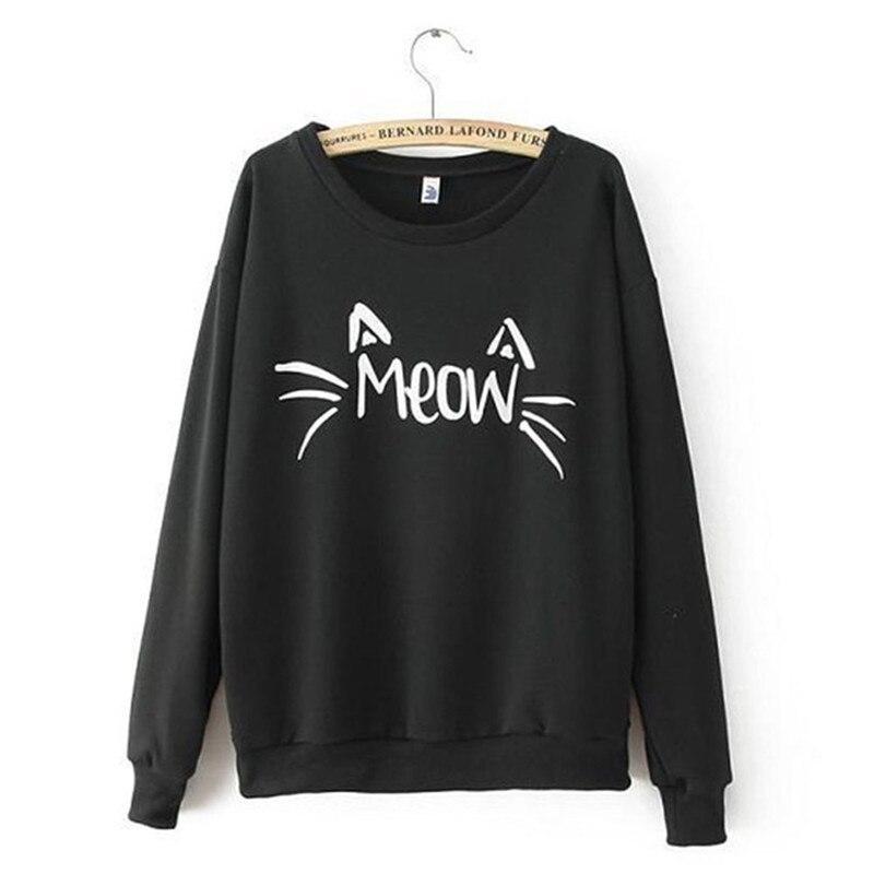 MEOW Print Tops Charm Women  Cozy Sweatshirt 2019 New Long Sleeve Spring Autumn Jacket Coat