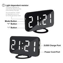 LED Mirror Digital Display Alarm Clock Voice Control LED Display Electronic Snooze Backlinght Desktop Digital Table Clocks Watch
