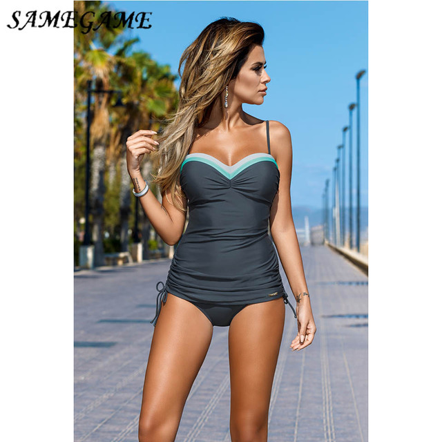 a96b7fafe17 2019 Newest Push Up Sexy Tankini Plus Size One Piece Swimsuit Underwire Swimwear  Women Summer Vintage Bathing Suits XXXL