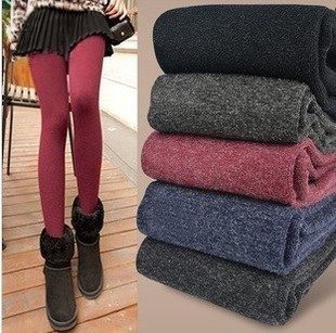 Woman Cashmere Leggings Faux Velvet Knitted Thick Leggings High Waisted Seamless Elastic Pants Alpaca Wool Leggings