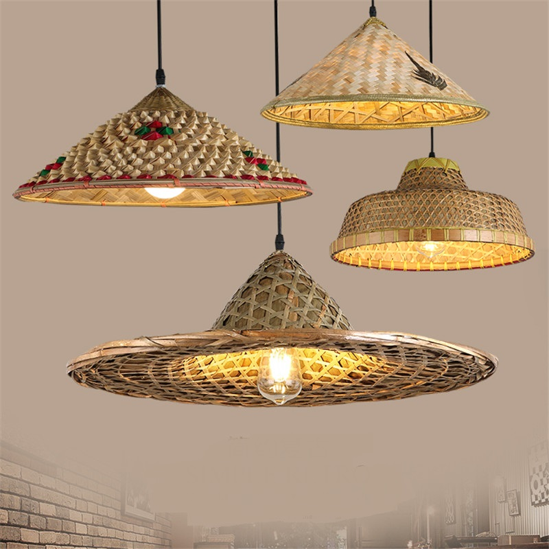 Bamboo Farmhouse Hat Bamboo pendant lights straw hat Living room exhibition hall Hand made bamboo pedant lamps ZA zb44 knot band straw hat