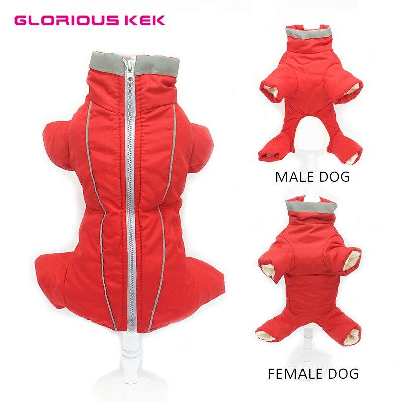 Glorioso KEK de invierno cálido ropa de perro mascota impermeable abrigo de perro para perro pequeño perro Jumsuit suave de lana- cubierta del vientre