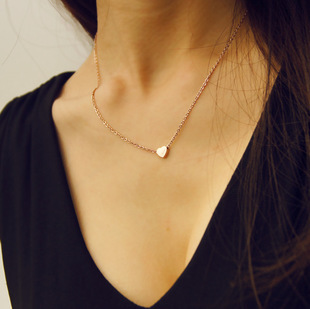 Rose gold color 316l stainless steel small cute love heart necklace women, fashion choker necklace collares mujer jewelry colar