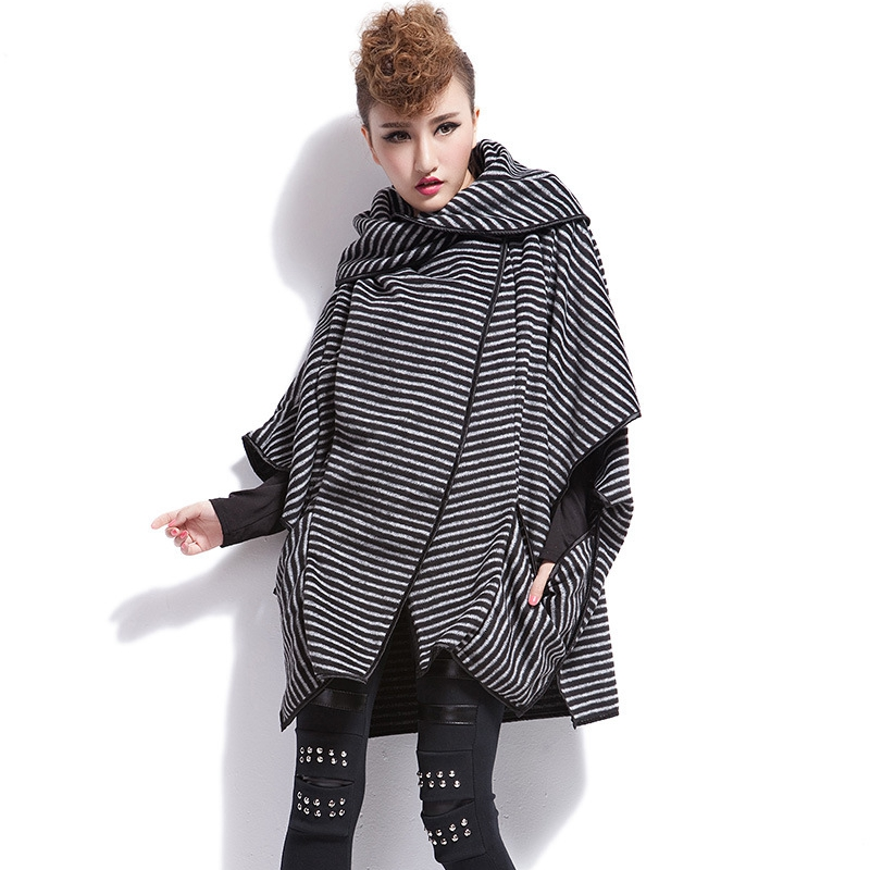 Cool ! Fashion Autumn winter fashion Asymmetric Length Cotton Cashmere Stripe Overcoats Trench Woolen Irregular tide brand Coat