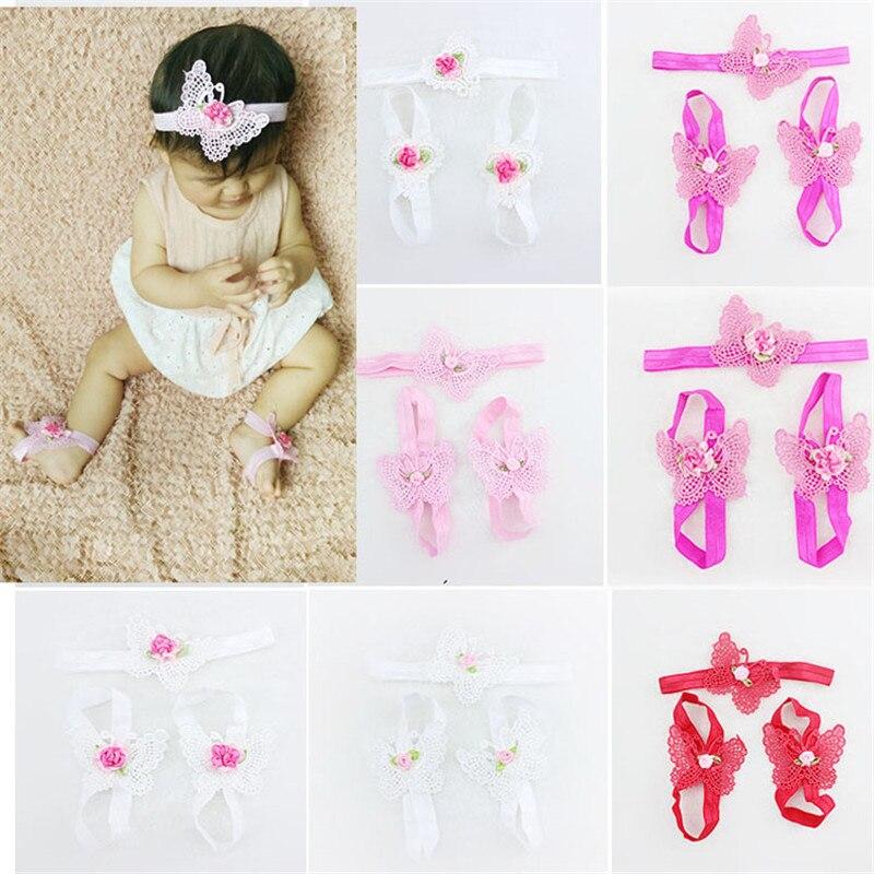 3pcs/set newborn baby headband   foot band hollow butterfly flower elasticity girls headbands kids hair accessories children
