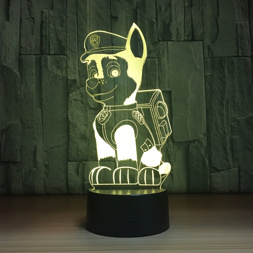 Colorful Cartoon Pat Dog Lamp 3D Night Light Kids Toy LED 3D Touch Table Lamp 7 Colors Flashing LED Light Indoor Decorations colorful waterdrop cartoon led charging night light