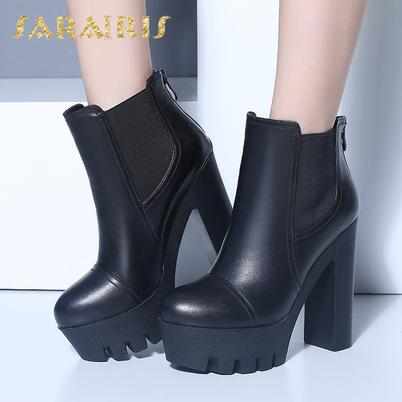SARAIRIS 2018 design genuine leather dropship platform womens Boots Women Shoes winter High Heels Woman Shoes ankle bootsSARAIRIS 2018 design genuine leather dropship platform womens Boots Women Shoes winter High Heels Woman Shoes ankle boots
