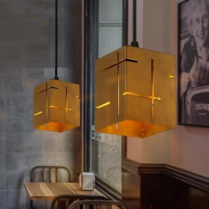 ФОТО Loft Style Square Iron Droplight Industrial Vintage Pendant Light Fixtures For Dining Room LED Hanging Lamp Lustres De Sala