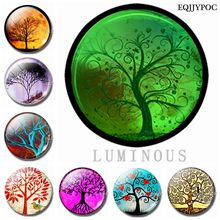 Cute Tree of Life Glass Refrigerators Magnet for Fridge Sticker Decor Luminous Magnetic Home Decoration Accessories