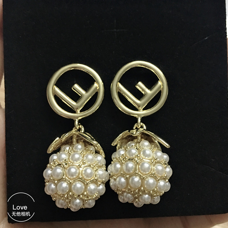 hot fashion fruit earrings gold color pearl initial letter earrings for girls famous brand jewelry