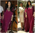 Fashion Kim Kardashian Dress 2016 Burgundy Chiffon Long Dubai Kaftan Dress Abaya Jalabiya Ladies Fancy Muslim Maxi Party Gown