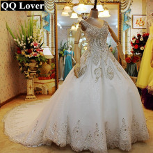 QQ Lover 2017 The Latest Luxury Crystals Beaded V-neck Big Train Lace Wedding Dress Bridal Gown Vestido De Noiva