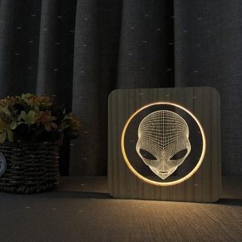 Aliens 3D design Wooden acrylic lights warm white lights best seller Accept customization dropshipping novel gift