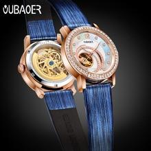 OUBAOER Blauw Skelet Automatische Horloges Damesmode Armband Horloge Dames Strass Luxe Lederen Mechanische Horloge