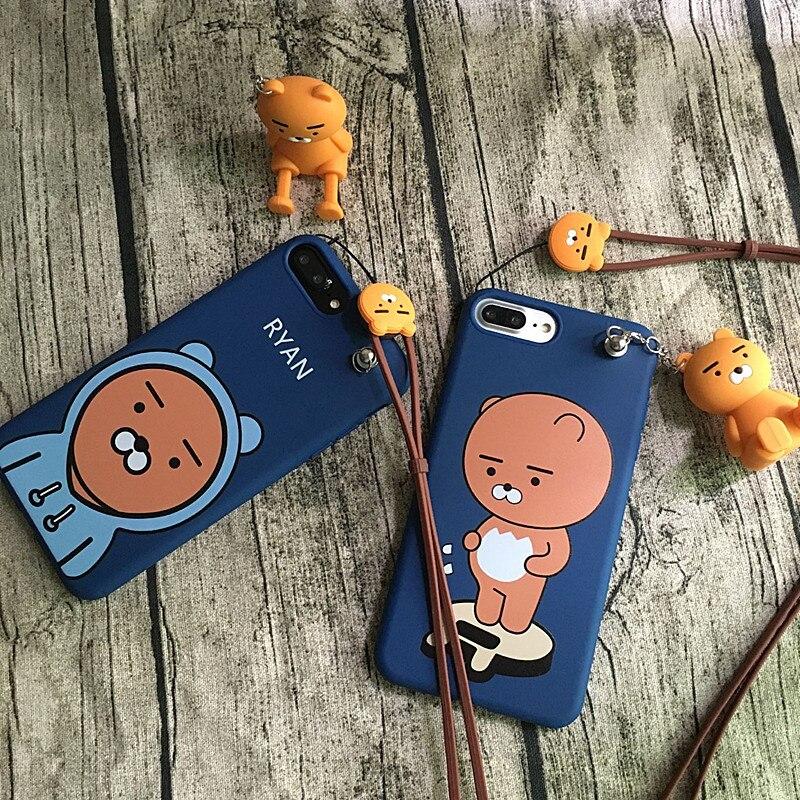Pour iPhone 7 7 plus Corée Kawaii animaux de La Forêt Muzi Neo Ryan cas pour iphone 8 plus 8 6 6 S 6 Splus Couverture souple + jouet stander + sangle