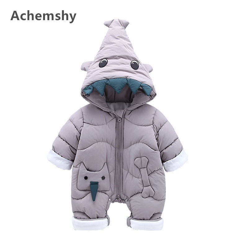 Winter Baby Cotton-padded Clothes Boys Girls Plus Velvet Thickening Monster Hooded Romper Infant Outwear Jumpsuit Warm цена 2017