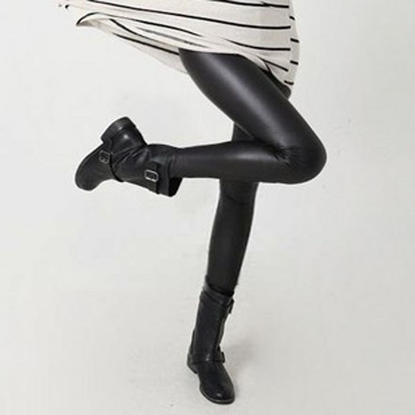 Women Sexy Black Wet Look Faux Leather Leggings Slim Shiny Pants Leggings