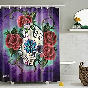 Unique And Generic Sugar Skull Tattoo Shower Curtain In Curtains From Home Garden On Aliexpress