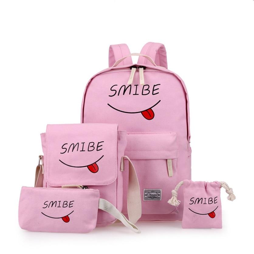 HUIMENG 여름 여성 캔버스 4Set 배낭 인쇄 학생 Bookbag 4PCS 학교 가방 지갑 청소년 소녀와 곰 Mochila