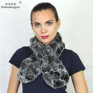 Linshenghaoyue fashion Real rex rabbit fur women scarf winter warm freeshipping