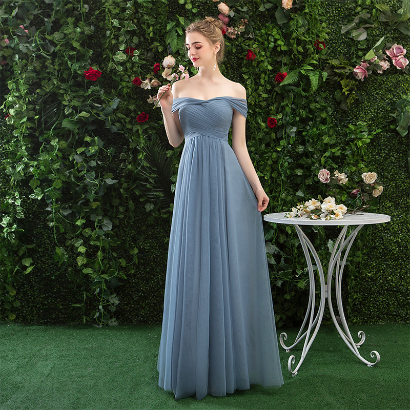 New Simple Off The Shoulder Lace Up A-line Long   Bridesmaid     Dresses   Elegant Pleated Tulle Wedding Party   Dresses   Robe De Soiree