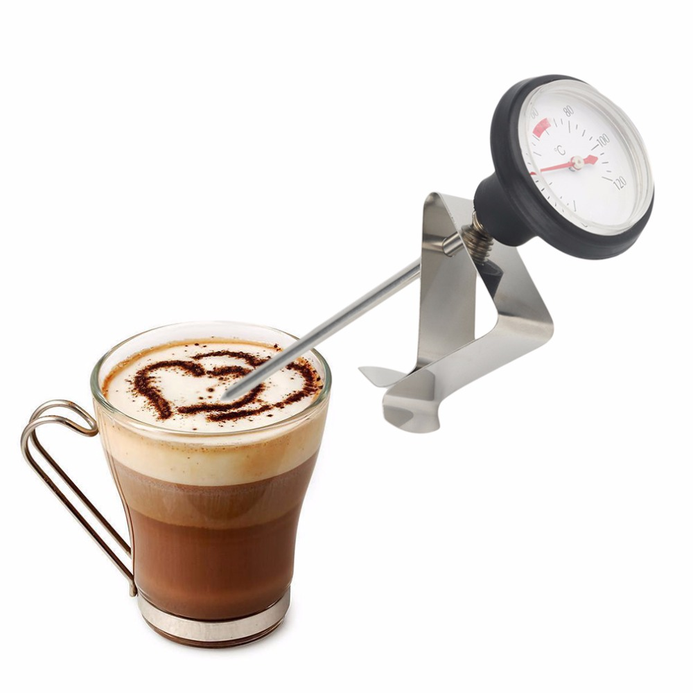Coffee Thermometer Clip Arrival Stainless Steel Espresso Milk Frothing Milk Frothing Candy Lique Probe Kitchen Baking Tool eupa stainless steel 500ml espresso coffee latte art cylinder pitcher barista craft latte milk frothing jug household