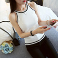 Atacado Estilo Coreano De Malha de Crochê Mulheres De Fitness Regatas Curto Puro Tricô Tornar Colete Sem Mangas camisas E125-1