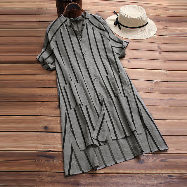 370dad98b3 Women Vintage Striped Short Sleeve Summer Shirt Vestido Casual Buttons Down  Loose Cotton Linen Blouse Elegant Work Top Blusas