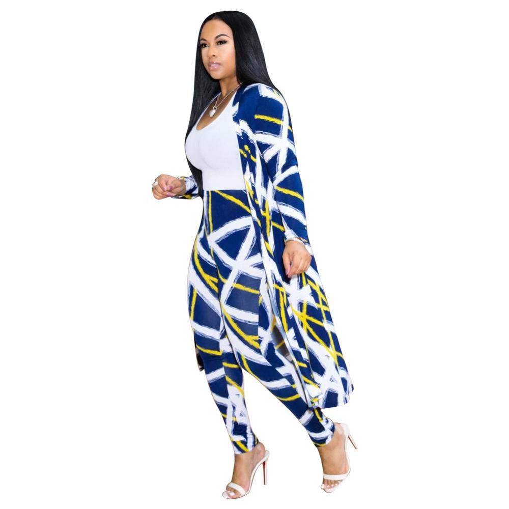 Two Pieces Matching Set Sexy blue stripes Printed 2 Pieces Set Women Clothes 2019 Long Cardigan Tops Pants Tracksuits Casual in Women 39 s Sets from Women 39 s Clothing