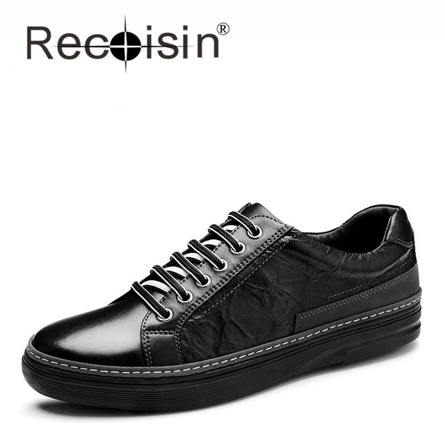 RECOISIN Brand New 2017 Genuine Leather Men Flat Shoes Spring Autumn Casual Shoes Top Quality Leather Shoes for Men Oxfords G76