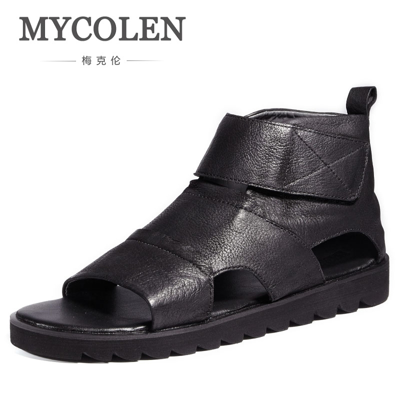 MYCOLEN 2018 Summer Gladiator Men'S Beach Sandals Comfortable Outdoor Breathable Shoes High Top Roman Men Casual Shoe Sandals