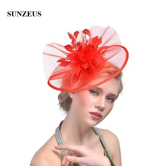 1e695810 Ladies Wedding Hats for Bridal Feathers Wedding Accessories Tulle Fascinators  Women's Party Hats chapeu casamento SH35