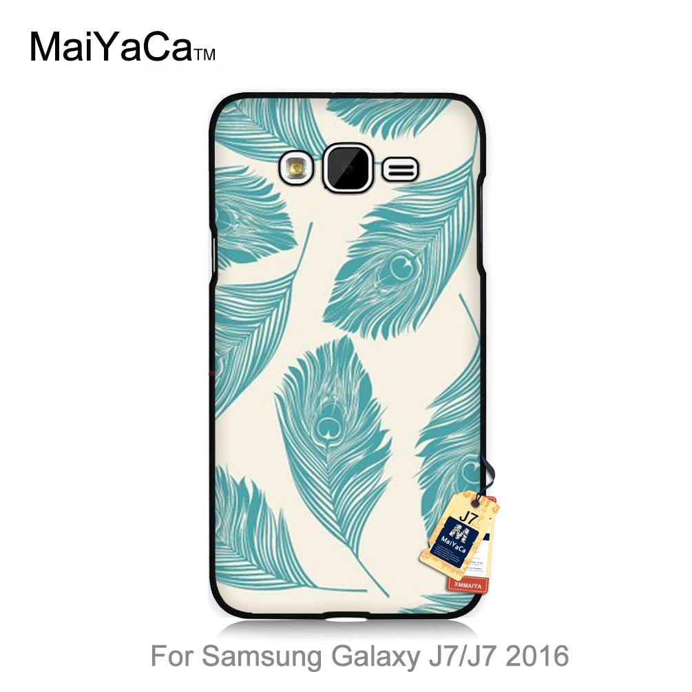 Pu leather case for samsung galaxy a7 2016 a710 peacock feather - New Personalized Classic Print Phone Accessories For Case J7 2015 Beautiful Mint Green Peacock Feathers
