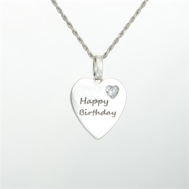 Pandulaso Happy Birthday Heart Crystal Pendants for Women Choker