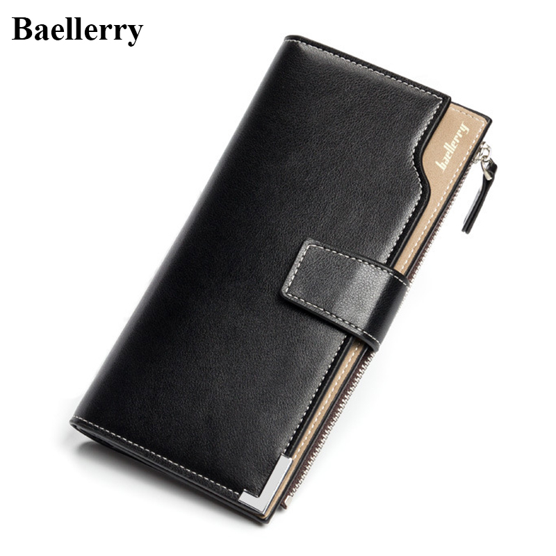 Baellerry Brand Leather Wallets Men Business Zipper Long Coin Purses Male Credit Card Holders Phone Wallet Clutch Wristlet Bags 2016 famous brand new men business brown black clutch wallets bags male real leather high capacity long wallet purses handy bags
