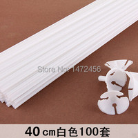 High quality 100sets/lot 40cm latex Balloon Stick white PVC rods for Supplies Balloons Wedding balloon decoration accessories