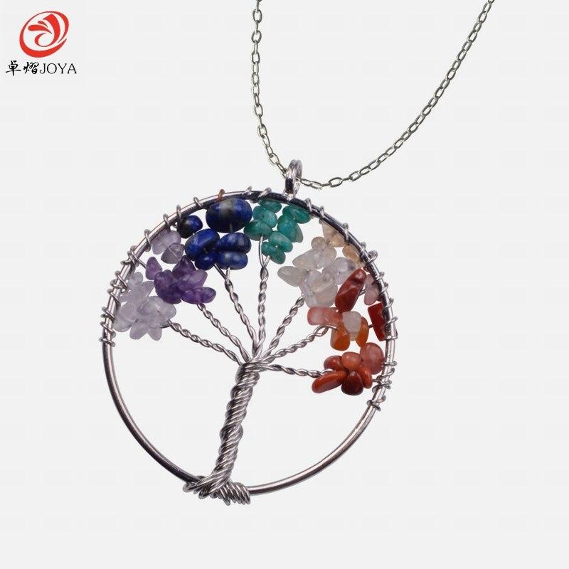 <+>  Древо Жизни Проволочная Чип Полудрагоценный камень Ожерелье  Серебро Латунь находка с чип-камнем 1PC ✔