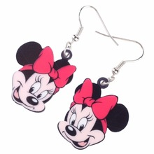 Newei Long Drop Brand Cute Smile Mouse Face Earrings Acrylic Cartoon New 2017 Animal Jewelry Girls Women Earrings Accessories