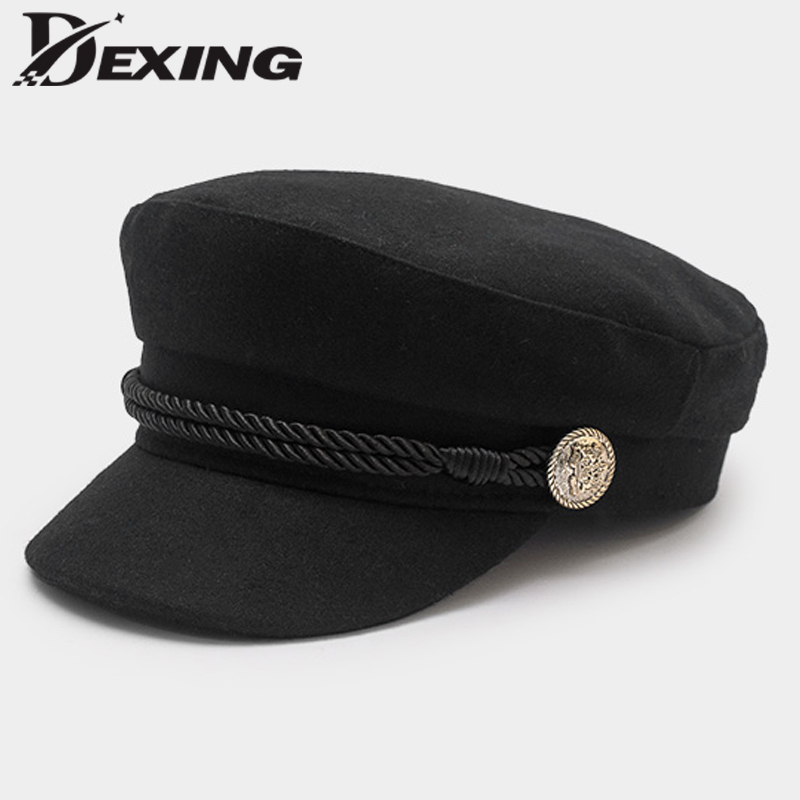 Autumn Winter Beret Women's Wool Newsboy Caps Women Black Spring Solid Plain Casual Painter Cap Yacht Captain Hat